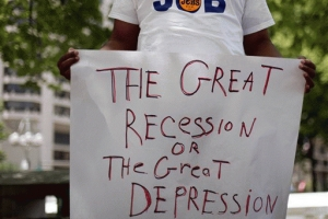 Lack of jobs due to recession